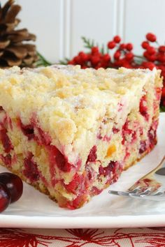 Christmas Cranberry Buckle - Holiday Cake ~ Scrumptious cake filled with fresh cranberries, candied orange peel and crystallized ginger, mildly spiced with cinnamon and nutmeg, and topped with a sugar cookie streusel. The perfect Thanksgiving and Christmas holiday breakfast or brunch! | Christmas cake recipe