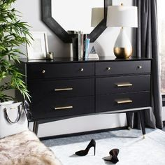Safavieh Home's line of dressers & chests are designed to work equally well as stylish accents and functional storage in both living rooms and bedrooms. Dresser In Living Room, Bedroom Dressers, Condo Bedroom, Living Rooms, Black Bedroom Furniture, Bedroom Black, Black Bedroom Design, Black Bedrooms, Master Bedrooms