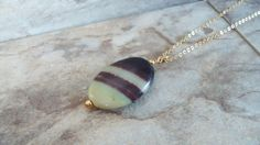 Agate Necklace Agate Striped Pendant Agate by StrokesandStone Agate Jewelry, Agate Necklace, Pendant Necklace, Etsy Earrings, Earrings Handmade, Trending Outfits, Unique Jewelry, Handmade Gifts, Vintage