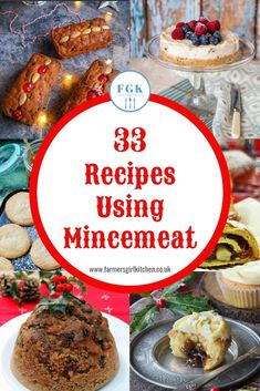 33 Recipes Fabulous using Mincemeat - a collection of festive recipes for cakes, desserts, cookies, breads and tarts and alternatives to traditional mince pies all using mincemeat. Fruit Mince Pies, Mince Meat, Christmas Pudding, Christmas Baking, Holiday Baking, Great British Food, Minced Meat Recipe, Biscuits, Ground Beef Recipes