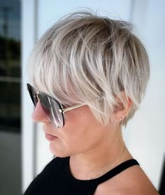 Growing Out Pixie Cut, Growing Out Short Hair Styles, Growing Out Hair, Grown Out Pixie, Pixie Cut With Bangs, Blonde Pixie Cuts, Grow Hair, Long Pixie Cut Thick Hair, Short Grey Hair