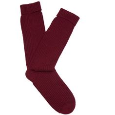 Pepper & Mayne Ribbed-knit cashmere socks (1.320.025 IDR) ❤ liked on Polyvore featuring intimates, hosiery, socks, burgundy, ballerina socks, cashmere socks, mid calf socks and ballet socks