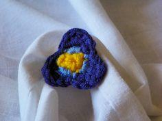 Crochet Violet Flower Pin Small Purple by LindenLeasCrochet
