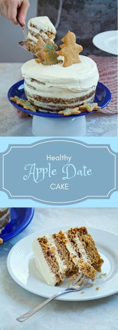Healthy Apple and date cake with maple mascarpone frosting