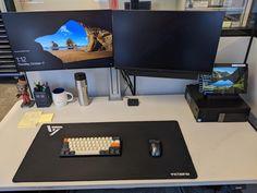 My new setup at work Gaming Computer Setup, Best Gaming Setup, Pc Setup, Room Setup, Hobby Desk, Video Game Rooms, Home Office Setup, Game Room Design, Gamer Room