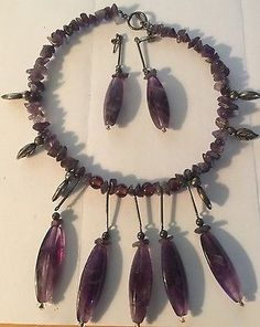 Vintage Sterling Silver Native Natural Amethyst Necklace & Earrings Estate