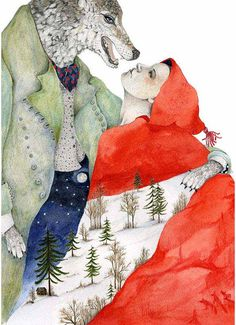 .Wolf and Red Riding Hood Print illustration by ChasingtheCrayon, looks like a love story in this illustration.
