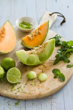 Sips and Spoonfuls: Cantaloupe, Lime and Mint Slushy