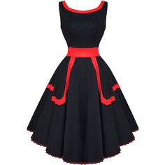 Hearts and Roses London Black and Red 1950s Dress ($51) ❤ liked on Polyvore featuring dresses, red and black cocktail dress, red and black dress, prom dresses, evening wear dresses and goth dresses