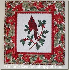 Free applique pattern for Christmas Cardinal
