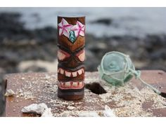 """Tiki Totem 5"""" w/ Flowers - Hand Carved & Painted"""