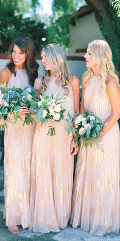 Full On Glitz Sequined And Metallic Bridesmaid Dresses ❤ See more…