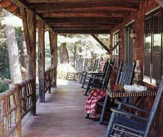 fishing camp - front porch of the house with American rocking chairs - Country Living via Atticmag Outside Living, Outdoor Living, Rv Living, Style At Home, Home Porch, Primitive Homes, Decks And Porches, Front Porches, Exterior