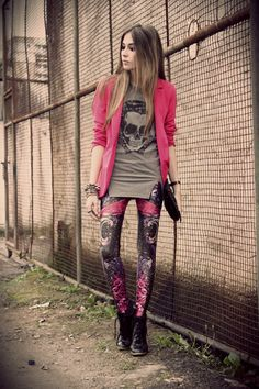 "Charcoal Gray Romwe Ts, Shirts, Black Labellamafia Leggings | "".into my blood."" by fashioncoolture"