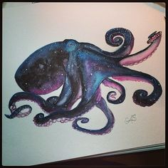 Cosmic octopus because I guess I do what my sister tells me to. Octopus Tattoo Sleeve, Octopus Tattoo Design, Octopus Tattoos, Octopus Art, Sleeve Tattoos, Tattoo Designs, Octopus Drawing, Octopus Painting, Kunst Tattoos