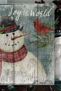 Primitive Christmas Sign Joy To The World Snowman Wooden Vintage Sign 2 Of 4 & Garden Christmas Wood Crafts, Snowman Crafts, Outdoor Christmas Decorations, Christmas Signs, Christmas Pictures, Rustic Christmas, Christmas Art, Christmas Projects, Holiday Crafts