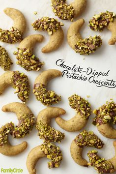 Chocolate-Dipped Pistachio Crescents #christmas #holiday #cookies
