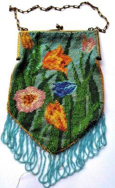 Antique-Art-Deco-Micro-Beaded-Geometric-Pink-Floral-Flapper-Era-Purse-Hand-Bag