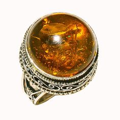 Round Genuine Transparent Honey Colored Baltic Amber Sterling Silver Size 7.5 Ring