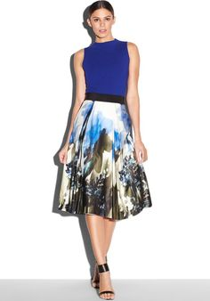 Painted floral-print skirt