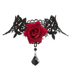 TWILIGHT STYLE, GOTHIC RED ROSE CHOKER: Pretty Vintage Inspired Victorian Gothic Style Black Lace Choker Necklace with Red Rose: Jewelry