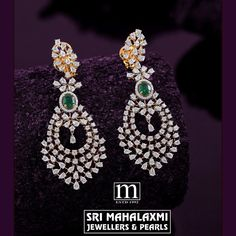 Check out this beautfiul diamond earrings with studded emerald by the brand Sri Mahalaxmi Jewellers and Pearls. Hanging Earrings, Diamond Earrings, Diamond Jewellery, Gold Jewelry, Gold Designs, South India, Designer Earrings, Indian Jewelry, Jewelry Collection