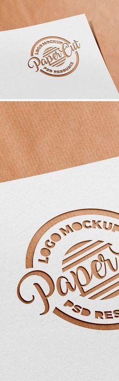 Paper Cutout #Logo #Mockup #PSD