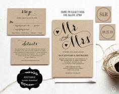 Rustic Wedding Invitation Template Printable by VineWedding