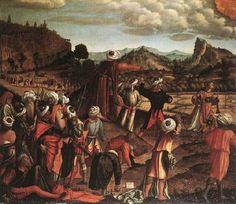 The Stoning of St. Stephen - Vittore Carpaccio.  1520.  Tempera on canvas.  142 x 170 cm.  Staatsgalerie Stuttgart, Stuttgart, Germany.