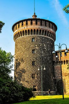A Corner Tower at Castello Sforzesco ~ Milan, Italy