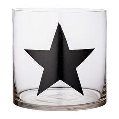 Photophore cache-pot verre XL motif étoile noire Bloomingville