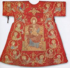 Eastern Orthodox Liturgical Vesture. 17th c, Bulgarian Sakkos from Byzantine and Christian Museum, Athens, Greece. Made of red silk with linen lining with embroidered imagery, the sakkos comes from Mesembria in Eastern Roumeli (now Bulgaria).  It has been dated to the 17th century and has been attributed to an Epirote workshop. -- click image for more info