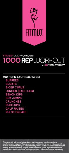 FitMiss 1000 Rep Workout -- I don't know that I will ever do this but I'm going to pin it so I can aspire to do it... 100 burpees... #dead