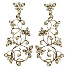 Dalben Diamond White Gold Floral Chandelier Earrings | From a unique collection of vintage chandelier earrings at https://www.1stdibs.com/jewelry/earrings/chandelier-earrings/