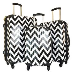 Never pick up the wrong suitcase again! The only ppl left wondering about these fab chevron suitcases will be the other passengers, who'll want to know who the fashionable flyer that owns these is, and where they got this set! Amazon.com: 3pc Luggage Set Hard Rolling 4wheels Spinner Upright Travel Lightweight Chevron: