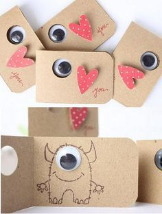Monsters valentine's card, heart, eye love you. Cute small simple cards. Anything involving googley eyes & monsters is a hit in this house.