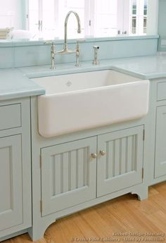"Perfectly beach house color, perfectly farmhouse sink! Traditional Blue Kitchen Cabinets <a class=""pintag searchlink"" data-query=""%2305"" data-type=""hashtag"" href=""/search/?q=%2305&rs=hashtag"" rel=""nofollow"" title=""#05 search Pinterest"">#05</a> (<a href=""http://Crown-Point.com"" rel=""nofollow"" target=""_blank"">Crown-Point.com</a>, <a href=""http://Kitchen-Design-Ideas.org"" rel=""nofollow"" target=""_blank"">Kitchen-Design-Id...</a>) Farmhouse sink"