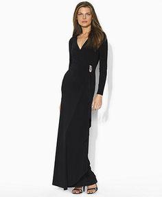 Lauren by Ralph Lauren Dress, Long Sleeve Evening Gown - Dresses - Women - Macy's