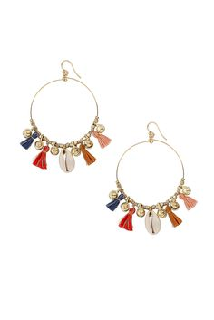 Multi Mix Charm Tassel Hoops - Chan Luu