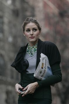 Love. Black, stripes + statement necklace. Olivia Palermo. Streetstyle