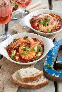 Gamba's met feta in tomatensaus. Kijk voor het recept op www.beproefd.nl