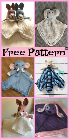 8 Adorable Knit Animal Lovey Free Patterns – The Best Ideas Animal Knitting Patterns, Crochet Blanket Patterns, Baby Blanket Crochet, Baby Patterns, Knit Or Crochet, Crochet Baby, Free Baby Knitting Patterns, Crochet Lovey Free Pattern, Bunny Blanket