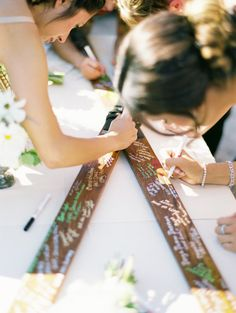 Skis for guest book? The only issue is getting those suckers back to Boston. (This is also a St. Regis Deer Valley wedding!)