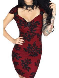 Sexy little corset back dress in gorgeous floral fabric. Sweetheart neckline in a vintage inspired bodycon silhouette design. Fabric is thick and stretchy for an easy fit that holds you in! Constructed with quality- American made, in the City of Angels.
