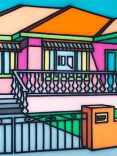 'Dignifying Suburbia' - Artwork by Howard Arkley - Australian Aerosol Artists Magnum Opus, Mondrian, Howard Arkley, Musica Punk, Melbourne, House Illustration, Illustrations, Indigenous Art, Australian Artists