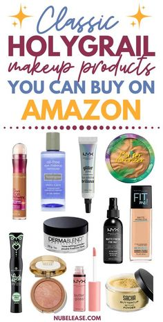 You can find these classic makeup products on amazon.  These drugstore makeup products and high end brand makeup products can be yours in 2 days if you are an amazon prime member too!  No matter what your makeup budget is, you can find beautiful beauty products from amazon! Amazon Beauty Products, Lush Products, Best Makeup Products, Drugstore Makeup, Makeup Tips, 80s Makeup, Clown Makeup, Makeup Tutorials, Nyx Glitter Primer
