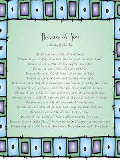 Because of You - Bildung Teacher Appreciation Poems, Teacher Poems, My Teacher, School Teacher, Teacher Gifts, Teacher Stuff, Principal Appreciation, Head Teacher, Volunteer Appreciation