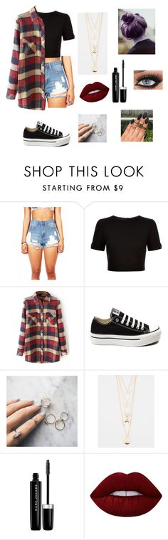 """""""Cheap Thrills."""" by minionmomo ❤ liked on Polyvore featuring beauty, Ted Baker, Converse, Floss Gloss, Full Tilt, Marc Jacobs and Lime Crime"""