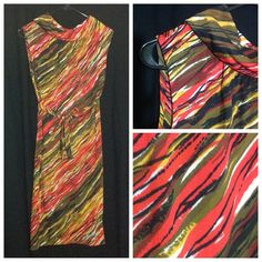 Vintage 60s or 70s Saks Fifth Avenue dress Slinky dress in beautiful condition.  Comes with belt.  Zips up the back.  Wavy pattern in black, green, yellow, and orange.  Bust approx 38 inches, length approx 39 inches.  Has musty smell from storage. Vintage Dresses Midi