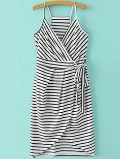 SHARE & Get it FREE | Striped Wrap Cami Tulip Dress - White And BlackFor Fashion Lovers only:80,000+ Items • New Arrivals Daily Join Zaful: Get YOUR $50 NOW!